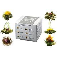 """Feelino Edle 6er-Mischbox -Teeblumen """"white"""" in toller Probier- und Geschenkbox mit 6 verschiedenen Weißtee-Teerosen, einzeln vakuumverpackt, 1er Pack"""