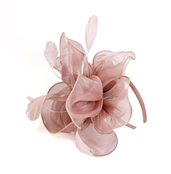 Amazon.com   Women Fascinators Hat Flowers Feather Dual Use Wedding Hat  Headdress (Pink)   Beauty a07b8c6b5aa