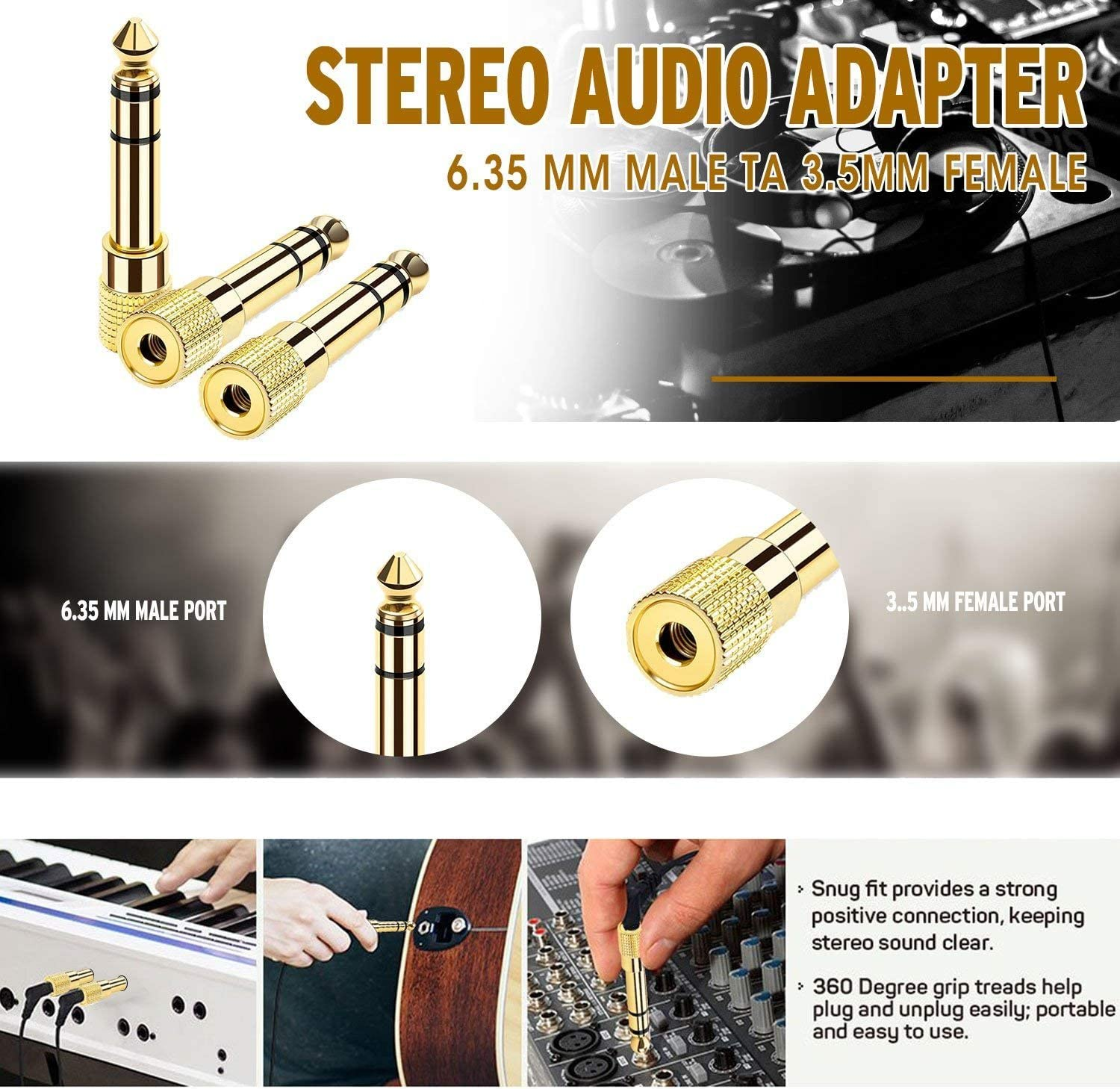 3 Pack Andul 3.5 mm to 1//4 inch Adapter 1//8 Inch Quarter inch to 3.5mm - 6.35mm to 3.5mm Adapter Stereo Audio Headphone Jack Adapter