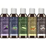 Carrier Oils Gift Set - Top 5 | Cold Pressed | Fractionated Coconut | Sweet Almond | Castor | Grapeseed | Avocado | For Essential Oils | Massage | Skin & Hair | 4 oz | Variety Pack | Savant Naturals
