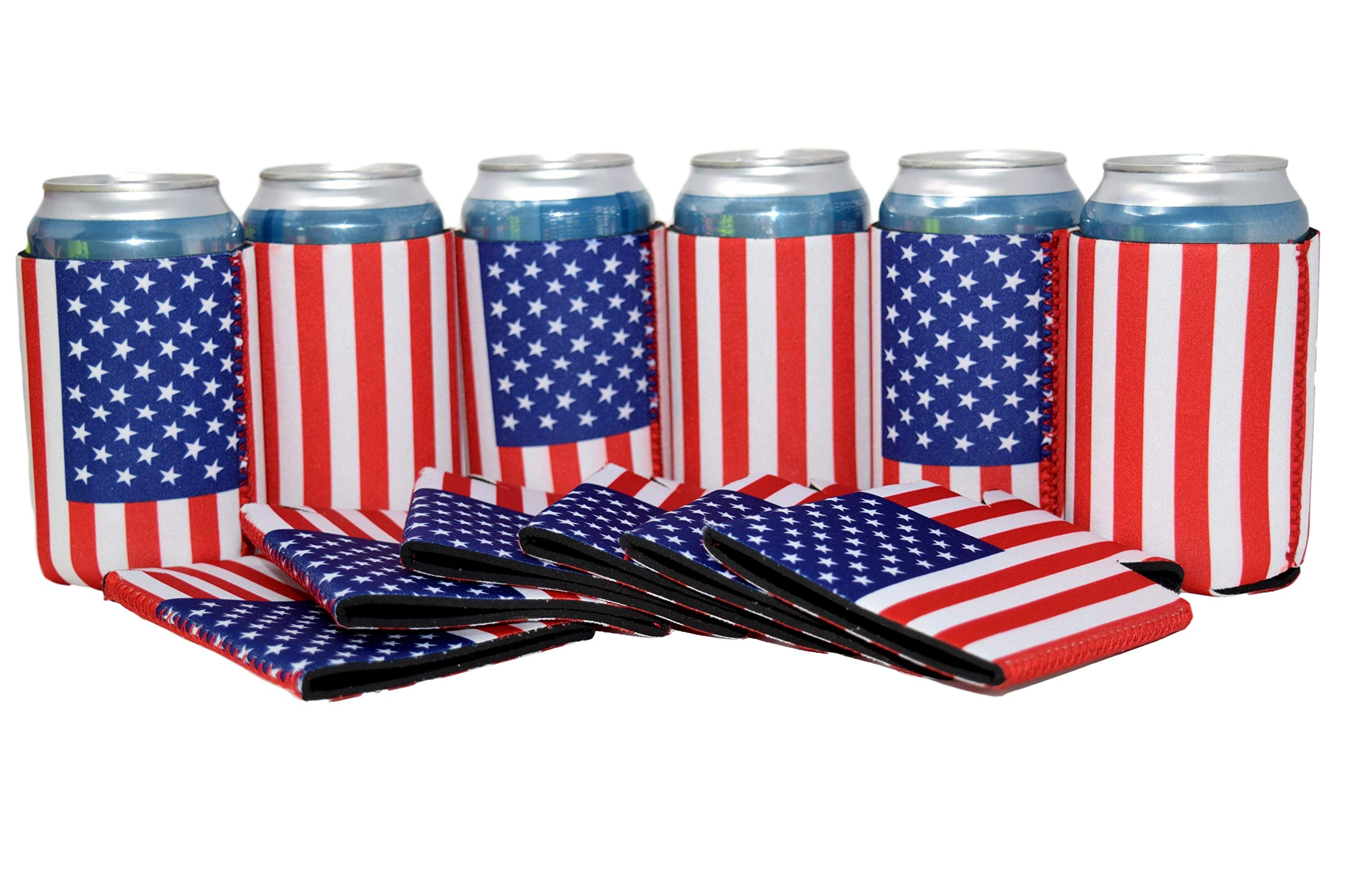 QualityPerfection - 12 US American Flag Neoprene Can Cooler Sleeve Collapsible Coolie,Economy Bulk Insulation with Stitches .Perfect 4 Events,Custom DIY Projects,Gift,Party Supply (12, USA Flag)