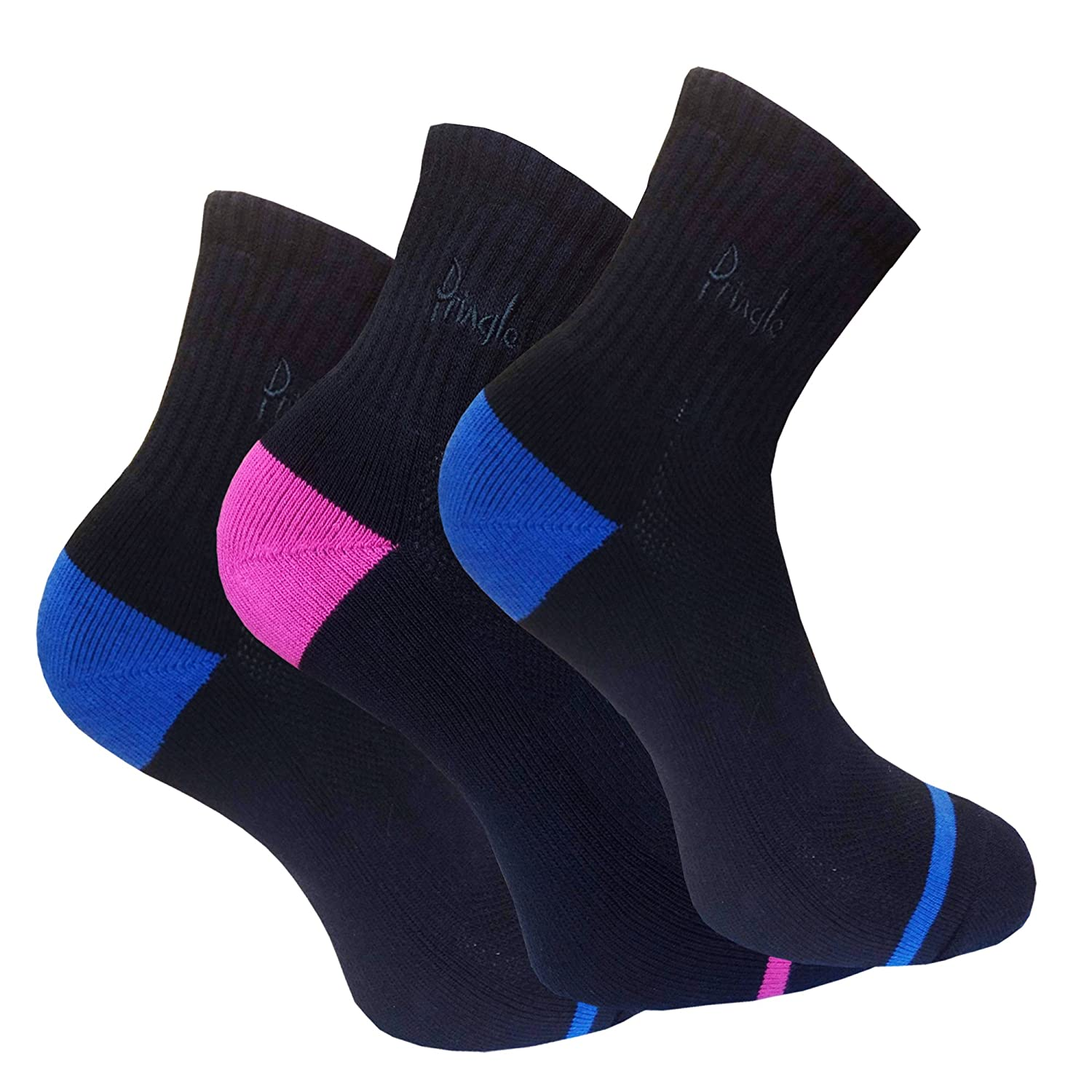 3 Pair Pack UK 4-8 Cotton Rich Pringle Women/'s  Black Socks