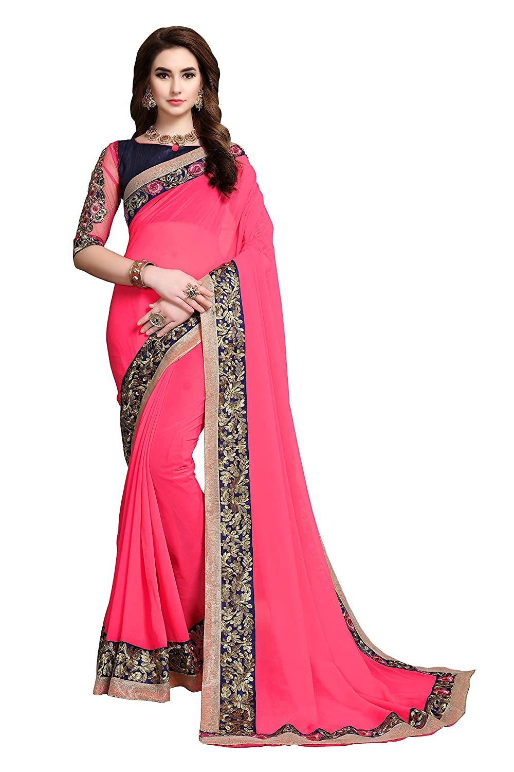Soru Fashion Georgette Saree (4018_Pink_5.5 Meters)
