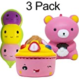 LAZEN Squishies Jumbo Slow Rising Kids SOFT SQUISHY TOYS 3 Pack: BEAN+ICE CREAM CAKE+PINK BEAR Set for Kids and Adults. - Slow Release Jumbo Squishies Multi Pack -