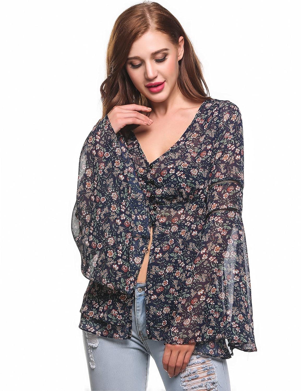 5c26222748e1ff Amazon.com  Zeagoo Women s Bell Sleeve Top Floral Print Chiffon Boho Blouse  See Through Shirt  Clothing
