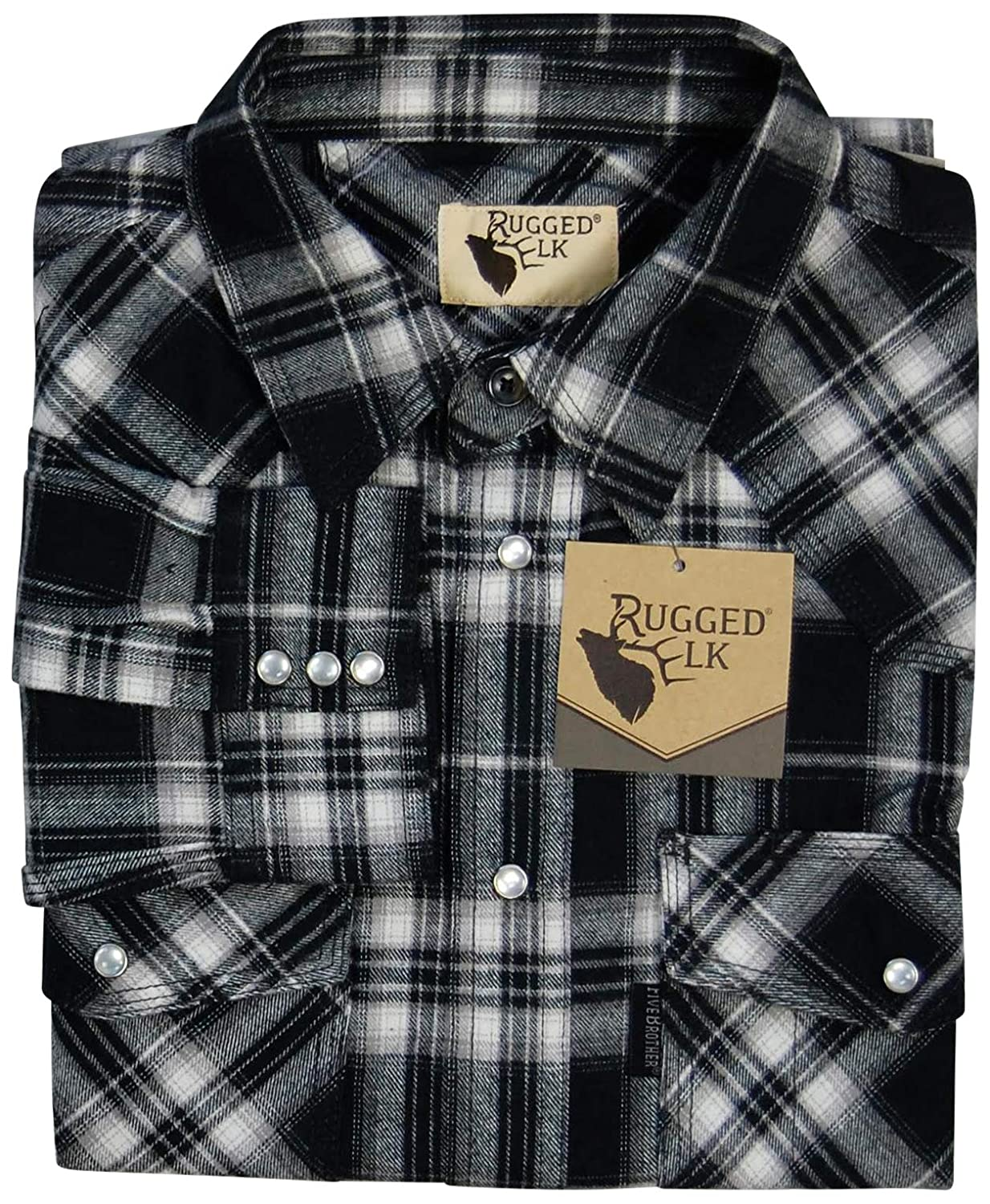 Easy Open Snap Front Rugged Elk Mens Midweight Flannel Shirt