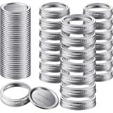 Canning Lids and Rings (52 Count), FGSAEOR 86mm WIDE Mouth Mason Jar Lids and Bands for Ball and Kerr Jars, Split-Type Metal