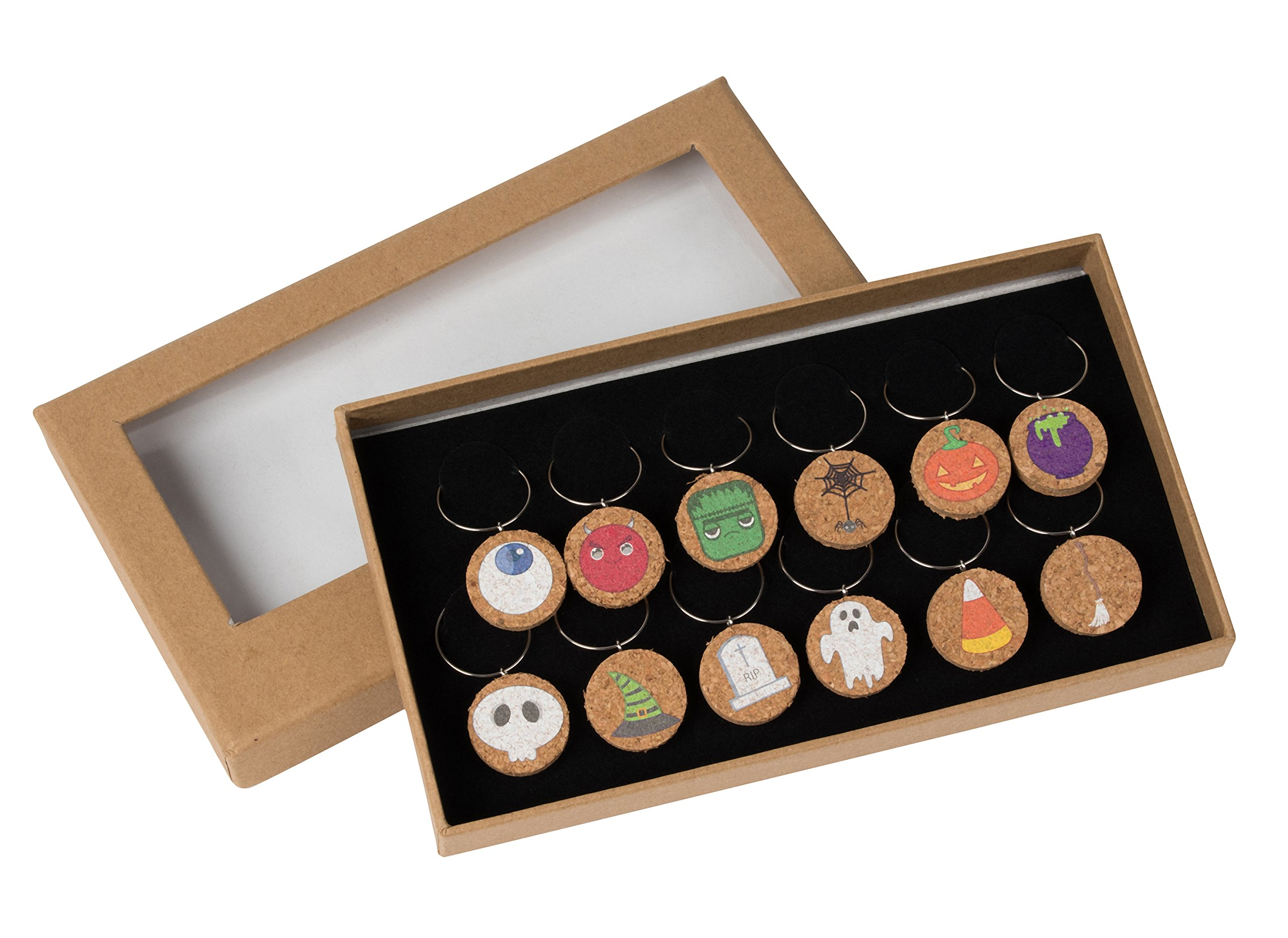 Wine Glass Charms - 12-Piece Halloween Designs Wine Charm Drink Markers - Natural Cork Halloween Themed Wine Glass Tags Decorations for Parties, Gatherings, Reunions by Juvale