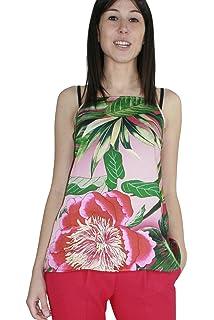 e94fbe8511a21c KAOS Women s Asymmetric Sleeveless Blouse Multicolour Fantasia Floreale