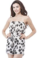 Strapless Palm tree Ropmer Print adjustable waist with Front buttons