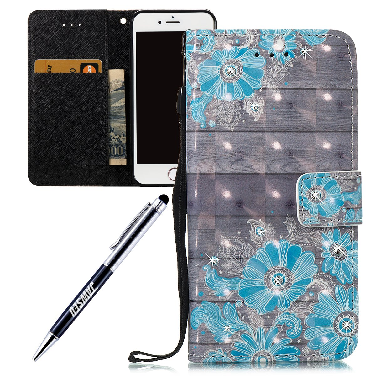 iPhone 6 Plus 5.5 Custodia, iPhone 6S Plus Cover, JAWSEU iPhone 6/6S Plus Custodia Pelle Portafoglio Diamante Lusso 3D Modello Design Creativo PU Leather Wallet Flip Cover Custodia per iPhone 6 Plus /6S Plus Copertura con Morbida Gel Silicone Case e Porta