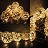 [Double Power Modes] Rattan Ball String Lights Battery Powered Warm White Globe Ball Fairy Lights w/Remote for Indoor Bedroom Bar Home Patio Party Christmas Tree (Dimmable, Timer, 30LEDs, 8 Modes)