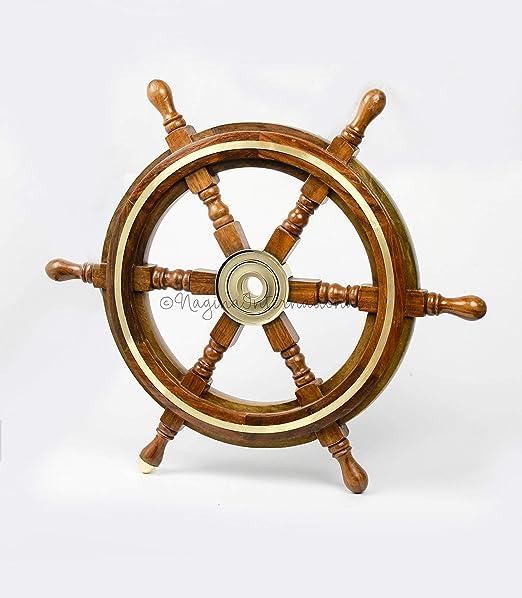 Wooden Ship Steering Wheel Wall Boat 24 Inch Brass Fishing Nautical Pirate Decor