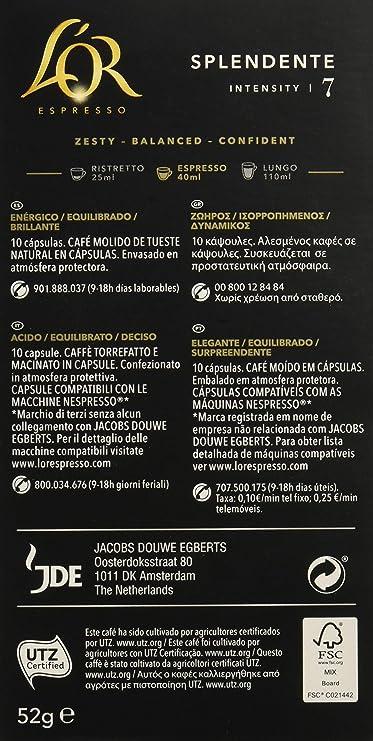LOr Café Espresso Splendente, Intensidad 7, Compatibles con ...