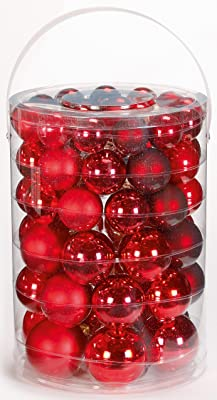 Inge-Glas 1507E460 Assorted Baubles 4/5 / 6/7 cm Ruby Red Mix Large Tube of 60