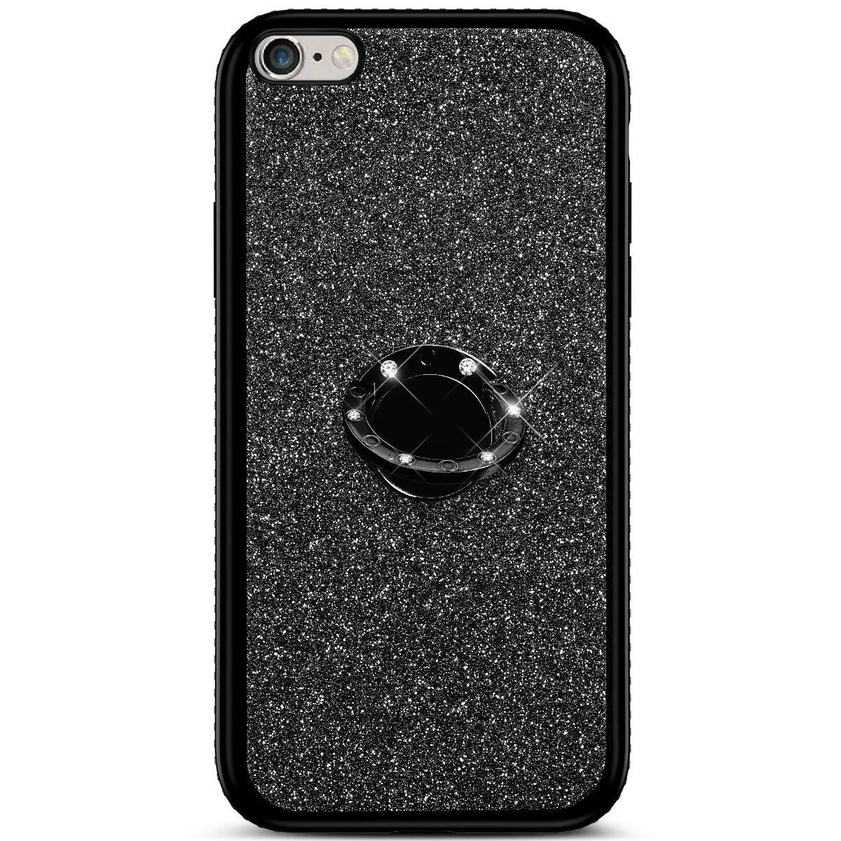 6S Plus Misstars Luxe Diamant Strass Housse de Protection Anti-Rayures Souple Silicone TPU Bumper avec Anneau Kickstand pour iPhone 6 Plus Bling Glitter Coque pour iPhone 6S Plus Or Rose 5,5
