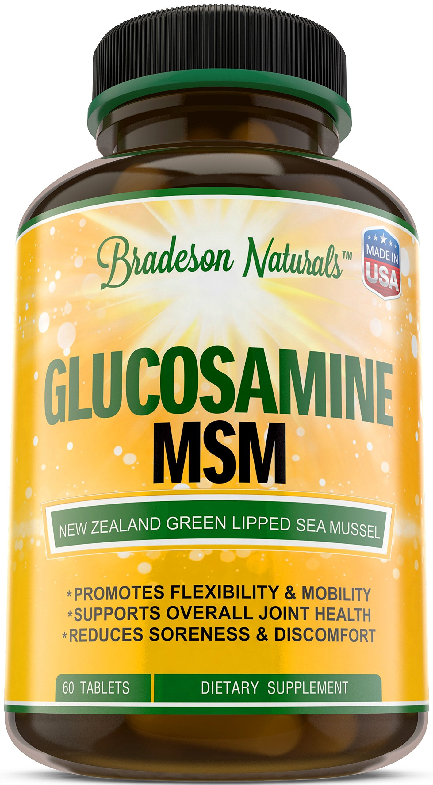 Glucosamine & MSM - 60 Tablets - Joint Support Supplement: Green Lipped Sea Mussel, Chondroitin Sulfate, Chromium, Selenium, Zinc &Vitamins A, B, C, E - Reduce Pain & Inflammation
