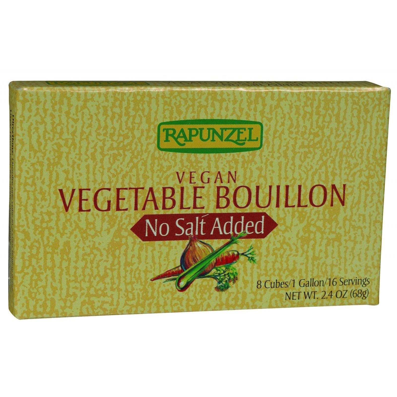 Rapunzel Bouillon Cubes - Vegetable - Vegan - No Salt Added - 2.4 oz - Case of 12 by Rapunzel