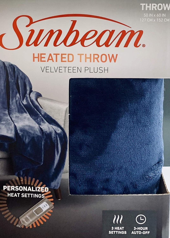 Sunbeam Electric Heated Velveteen Soft Plush Throw Blanket, Personal 3-Heat Settings, (Navy Blue)