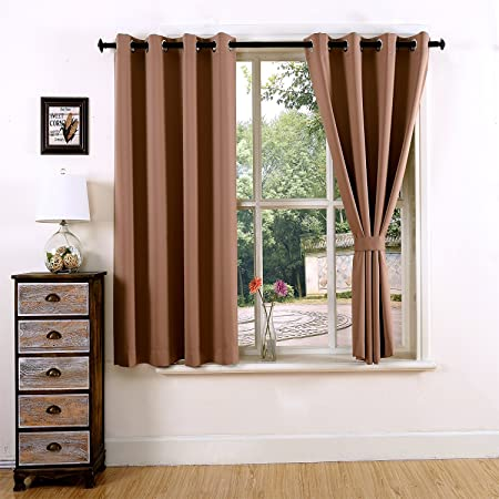 YOJA Thermal Insulated Grommet Top Blackout Short Curtains Bedroom Drapes  Light Coffee,52u0026quot; Wx63