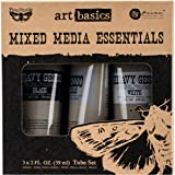 Prima Marketing Finnabair Art Basics Mixed Media Essentials (3 Per Pack), 2 oz, Clear/White/Black Gesso