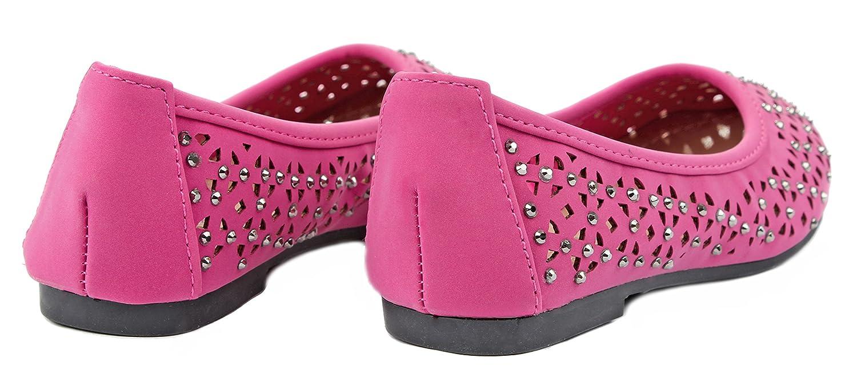 Diana85 Kids Rhinestone Laser Cut Slip On Loafer Ballet Flat Dress Shoes