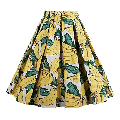 Womens 2018 Retro Print Flower Summer Skirts High Waist Vintage Skirt Elegant A-Line Midi