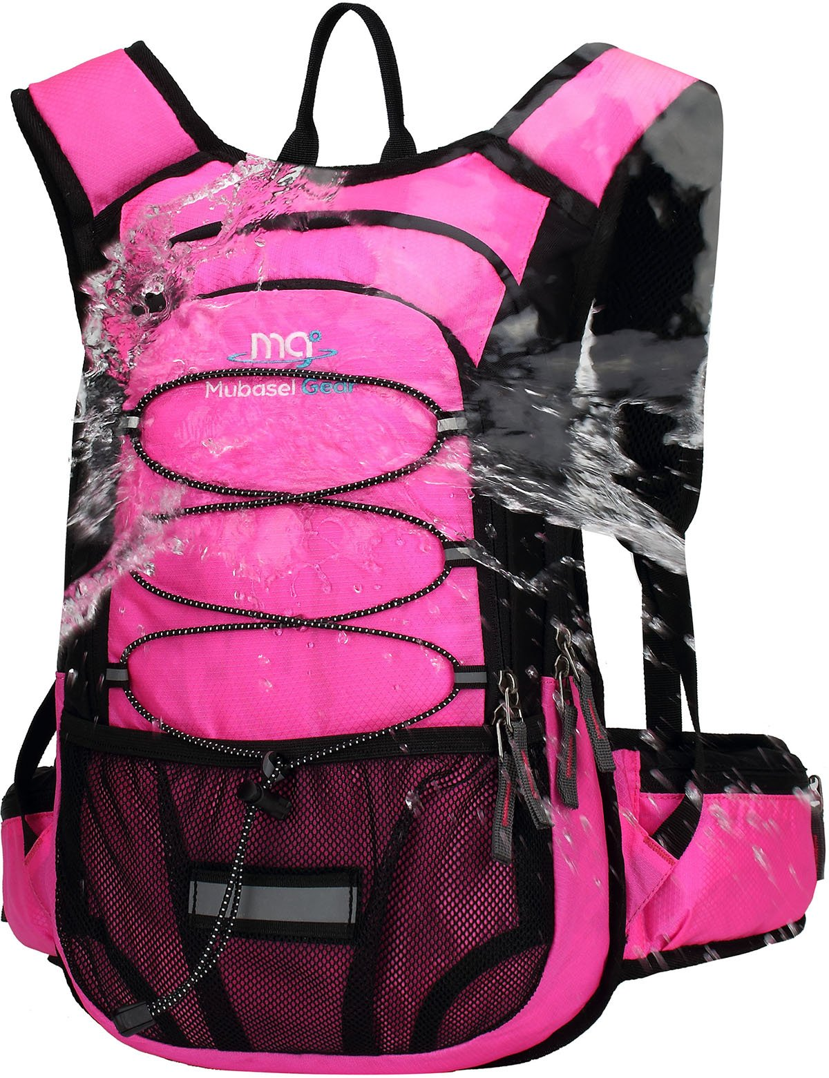 Mubasel Gear Insulated Hydration Backpack Pack with 2L BPA Free Bladder - Keeps Liquid Cool up to 4 Hours - for Running, Hiking, Cycling, Camping (Fushia) by Mubasel Gear