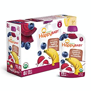 Happy Baby Organic Stage 2 Baby Food Simple Combos Bananas Beets & Blueberries, 4 Ounce Pouch (8 Pack)