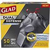 Amazon Price History for:Glad Dual Defense Drawstring Large Trash Bags, 30 Gallon, 50 Count