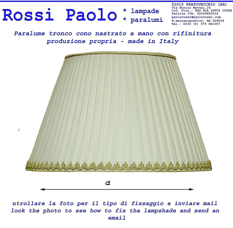 Paralume tronco cono tessuto plissettato nastrato a mano - produzione propria - made in Italy (cm 12) Rossi Paolo