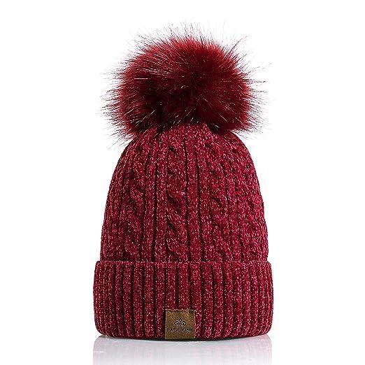 b07755e16 PAGE ONE Women Winter Pom Pom Beanie Hats Warm Fleece Lined, Chunky ...