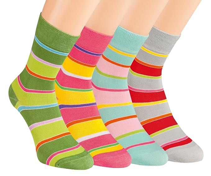 Vitasox 11911 señoras calcetines calcetines a rayas de algodón de colores sin goma sin costura 12