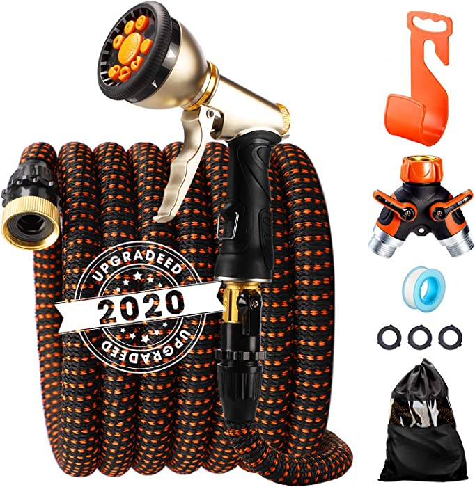 """Delxo 2020 Upgrade 50FT Expandable Garden Hose Water Hose with 9-Function High-Pressure Spray Nozzle, Heavy Duty Flexible Hose, 3/4"""" Solid Brass Fittings Leakproof Design"""