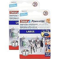 tesa Powerstrips Large/dubbelzijdige plakstrips voor montage van voorwerpen tot 2 kg - weer verwijderbaar 10 strips (2…
