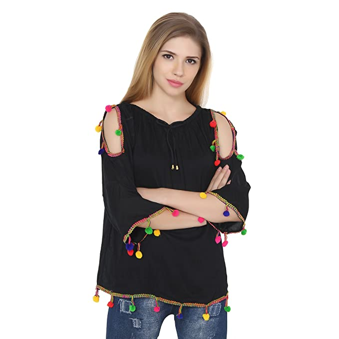 fb3a63f4537f3 Jollify Women s Black Rayon Cut Shoulder Embroidered Top  Amazon.in   Clothing   Accessories