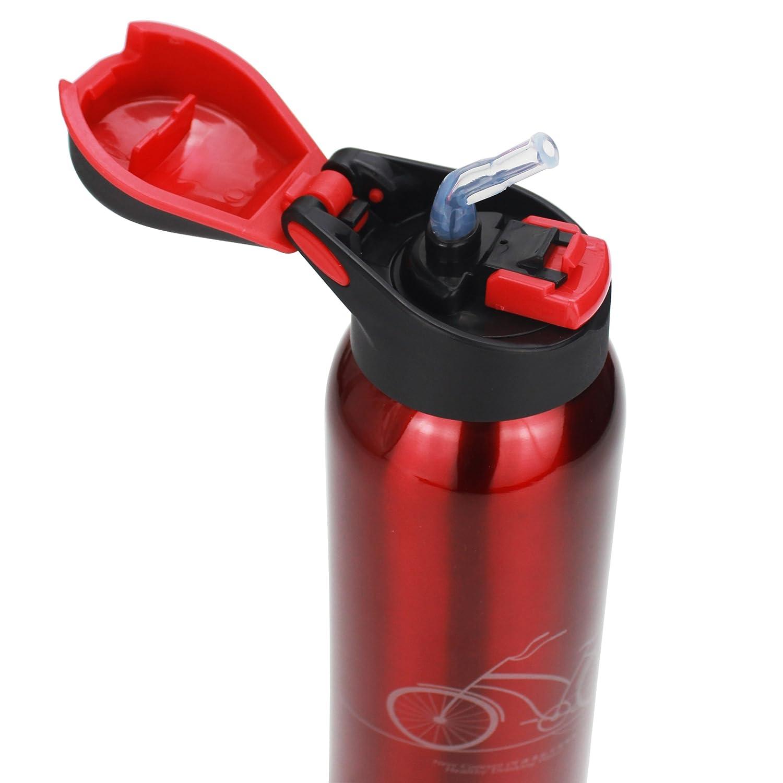 starrich真空断熱ステンレススチール旅行コーヒーマグ/水ボトル、片手開き、ドリンク、リークプルーフFlip Top Lid forジム、ヨガ、ランニング、アウトドア、サイクリング、キャンプ16oz  レッド B0754H1D7X