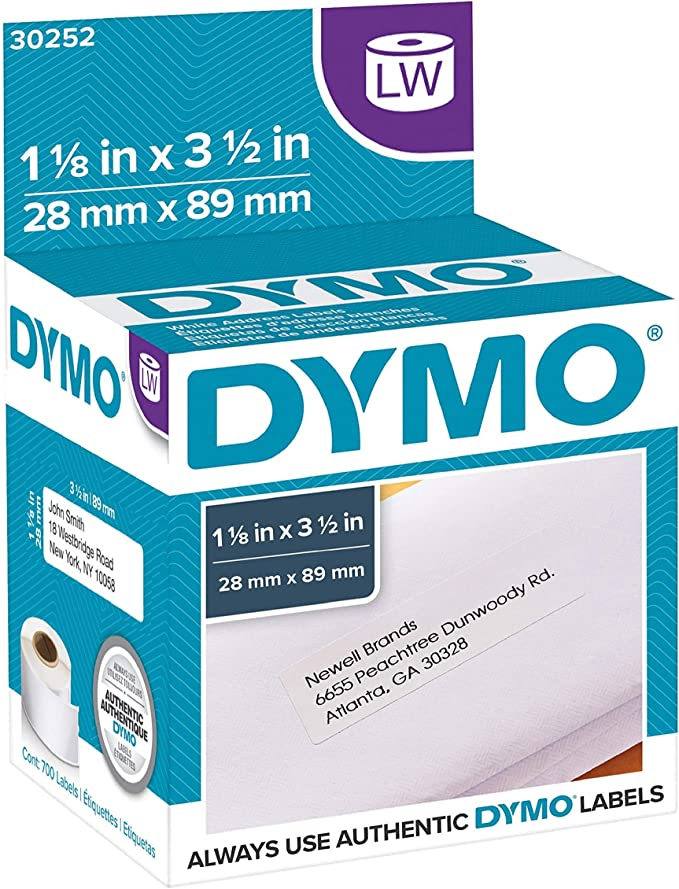 BPA Free! 1-1//8 x 3-1//2 2 Rolls; 350 Labels per Roll Compatible with DYMO 30252 Orange Address Labels