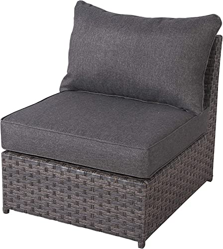 SunHaven Cromwell Grey Outdoor Conversation Set Fully Assembled Wicker Rattan Grey Cushion Olefin Fabric Weatherproof Clips Included Armless Middle Chair