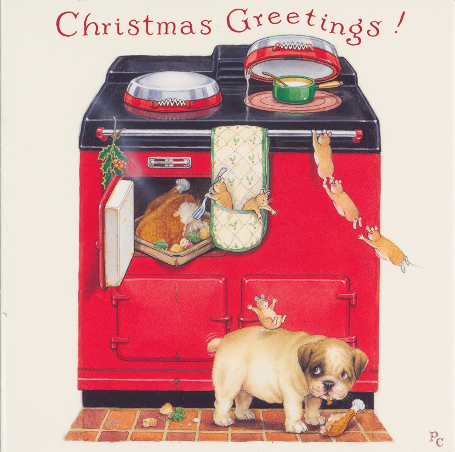 Peter Cross Bulldog Puppy Dog By Red Aga Charity Christmas Cards