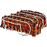 Rib Rack, Stainless Steel Roasting Stand, Holds 4 Ribs for Grilling Barbecuing & Smoking - BBQ Rib Rack for Gas Smoker…