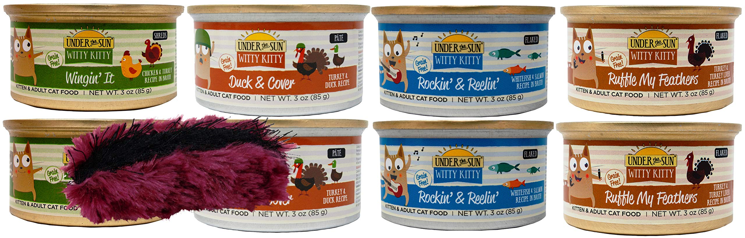 Witty Kitty Grain Free Kitten & Adult Cat 4 Flavor Variety 8 Can Bundle Toy, 2 Each: Wingin' It, Duck & Cover, Rockin' & Reelin', Ruffle My Feathers (3 Ounces)