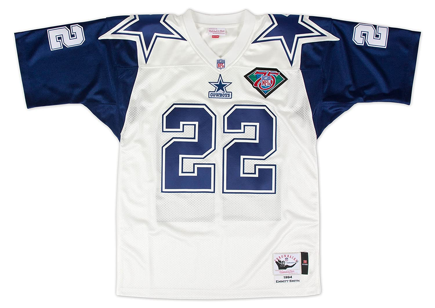 Nfl Authentic amp; Emmitt Mitchell Jersey Dallas Ness Sports Outdoors com Cowboys Amazon White Smith 1994