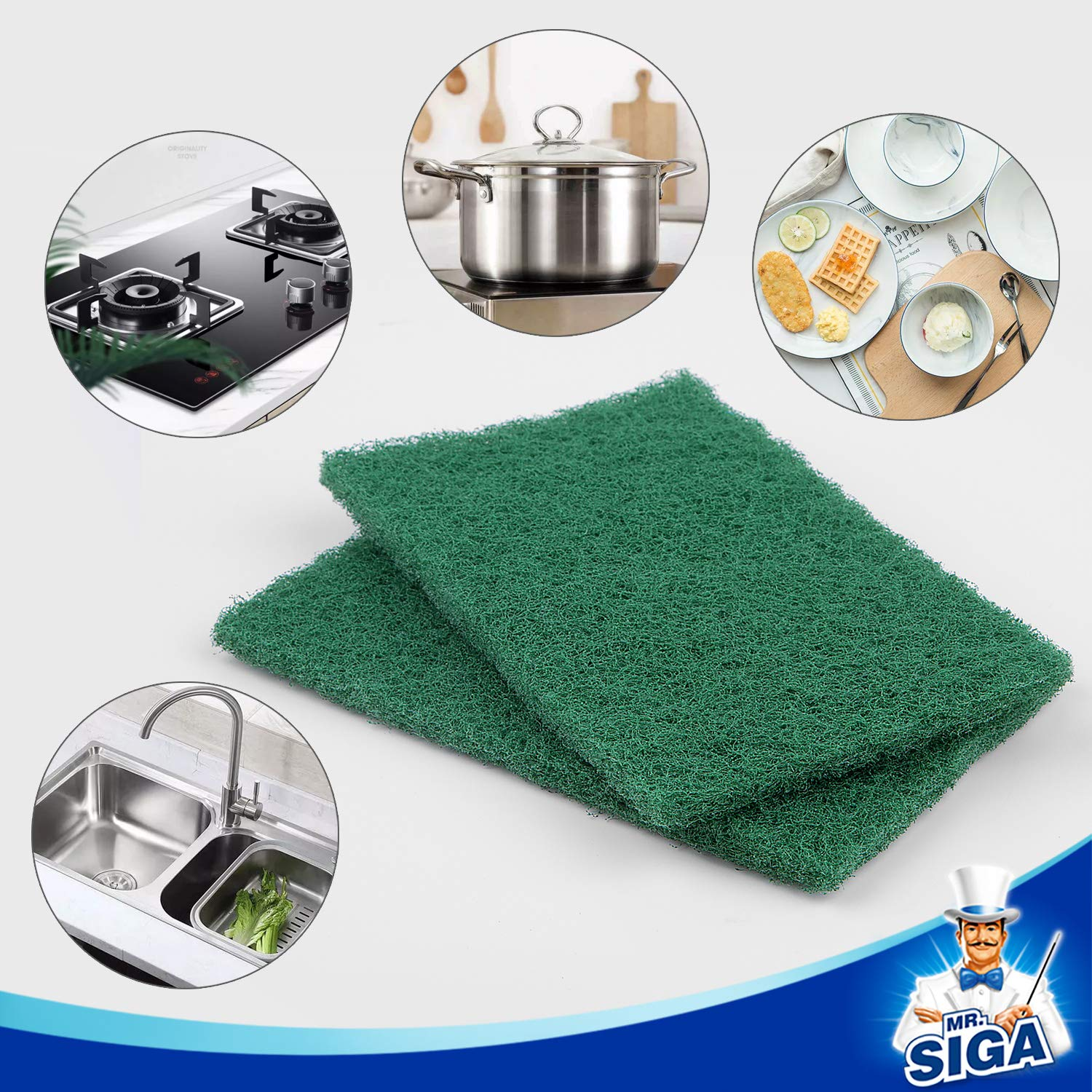 MR.SIGA Heavy Duty Scouring Pads, Household Scrubber for Kitchen, Sink, Dish, 24-Pack, 3.9 x 5.9 inch (10 x 15 cm), Green by MR.SIGA (Image #3)