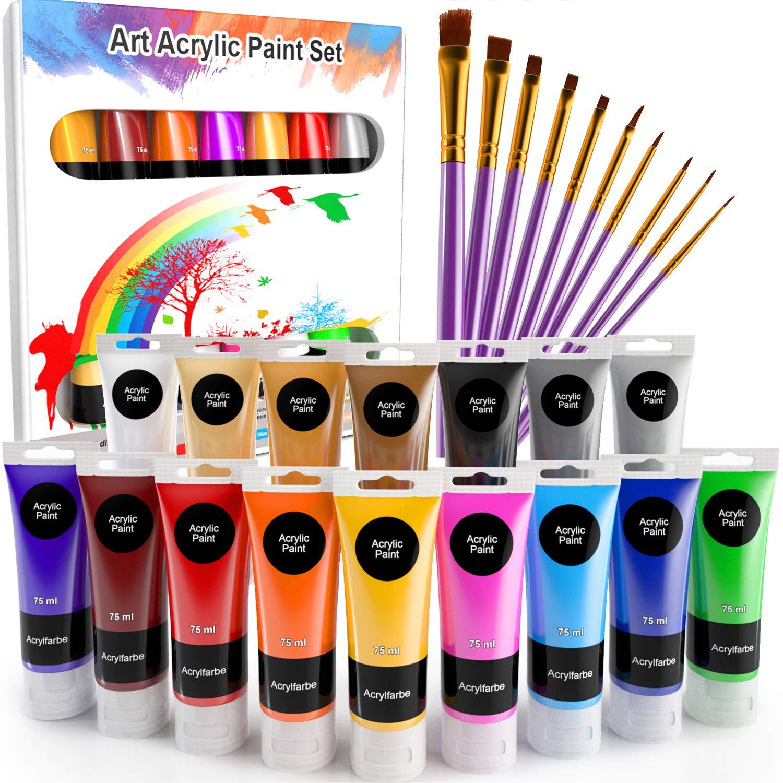 WOSTOO Farba akrylowa zestaw 26 farb akrylowych 16 x 75 ml + 10 pędzelków akrylowych mocno kryjących