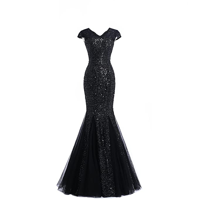 FTBY Short Sleeve Lace Sequins Long Mermaid Prom Dress ...