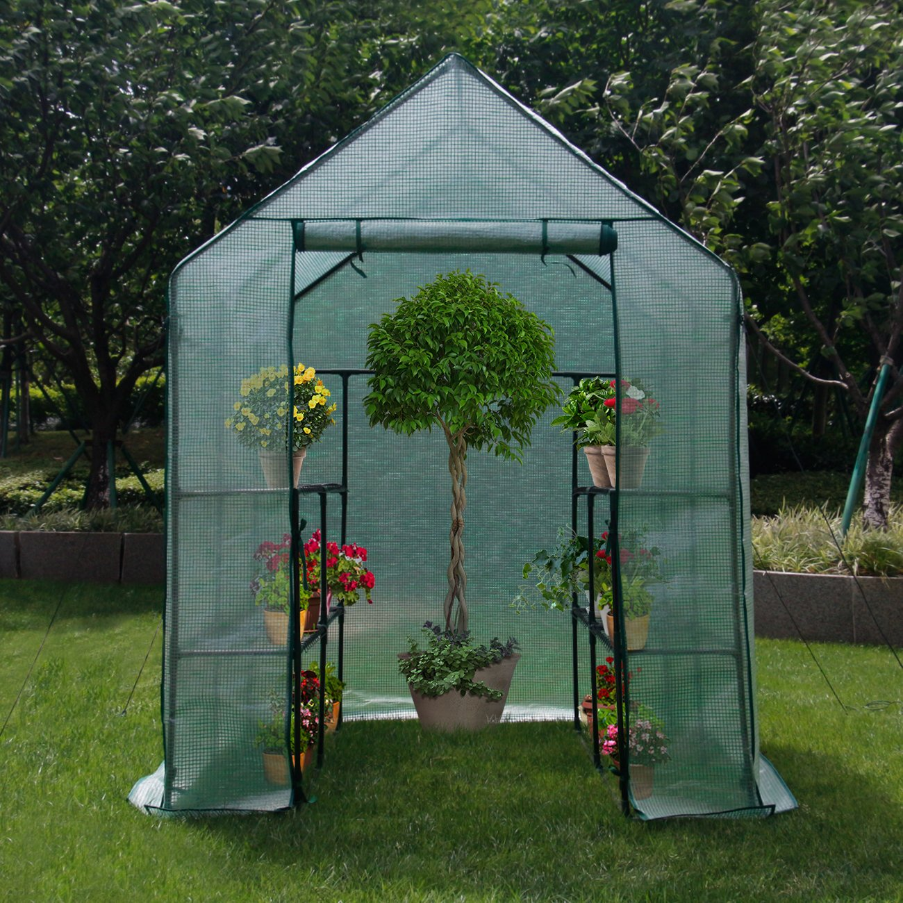 AODAILIHB Reinforced PE Net 6 Layers 8 Shelves Greenhouse Suitable for Lawn and Garden Steel Structure Assembly, 8 Fixed Buttons 4 Floor Fasteners, H x L x W:76.77 x 56.29 x 56.29 inch (02) by AODAILIHB (Image #3)