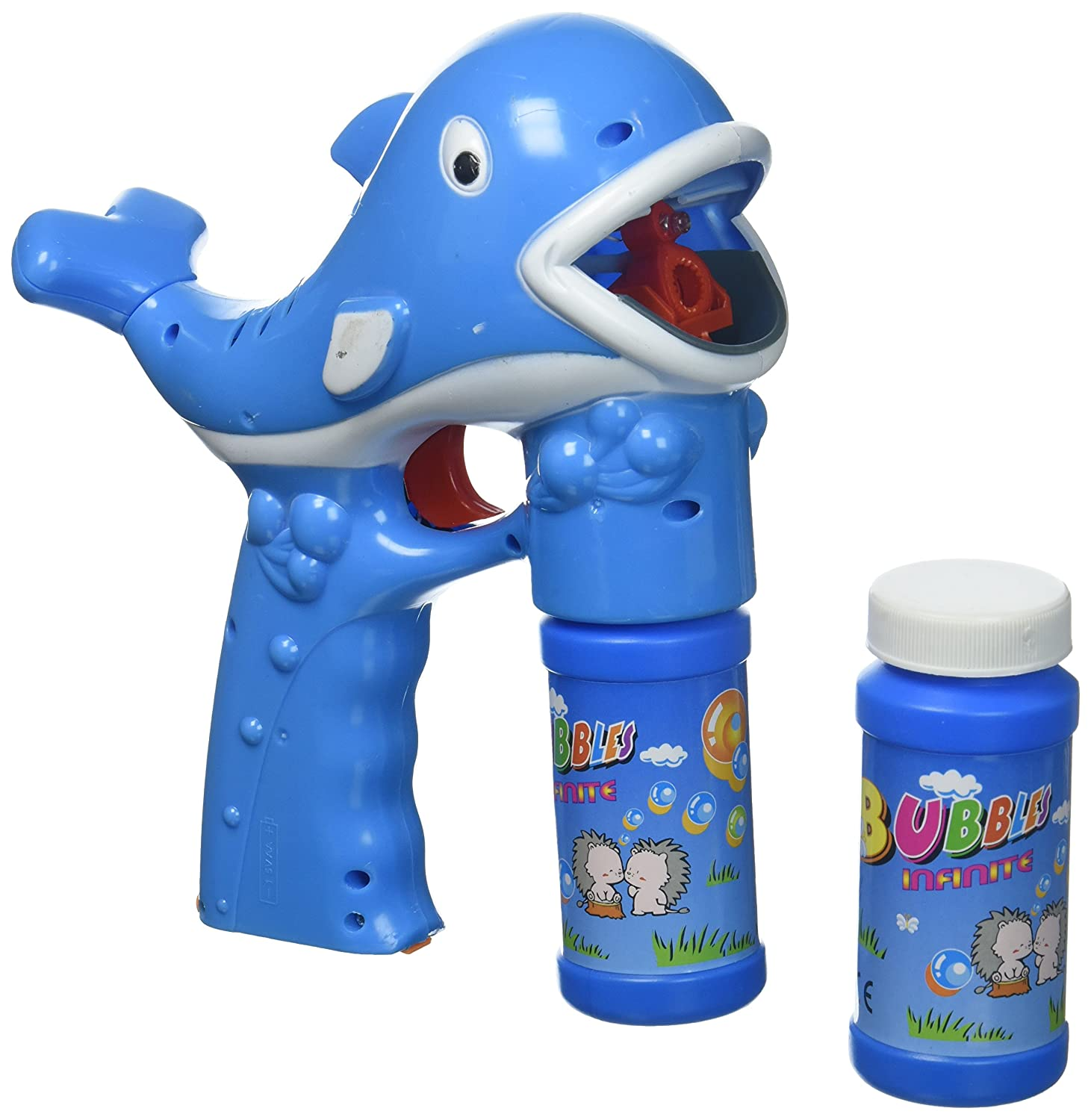 Fun Cartoon Whale Battery Operated Toy Bubble Blowing Gun w Light Music 2 Bottles of Bubble Liquid Blue