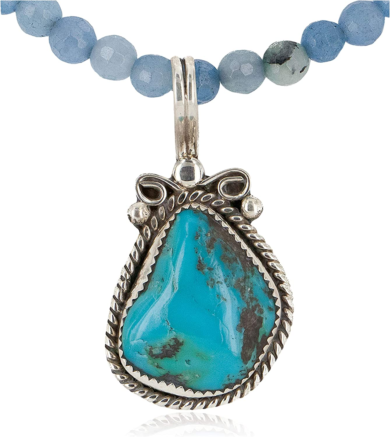 $400Tag Silver Certified Navajo Turquoise Blue Quartz Native Necklace 24394-2-16083-7 gemacht durch Loma Siiva