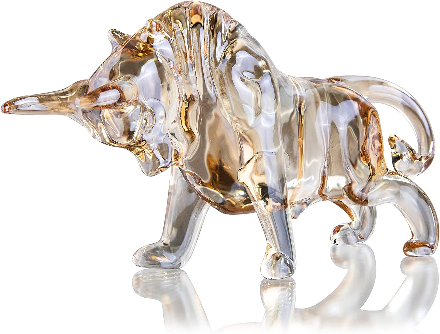 H&D HYALINE & DORA Charm and Lucky FengShui Crystal Statues Wall Street Bull Figurine Sculpture Home Office Desk Decorative Ornament